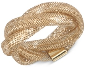 Italian Gold Openwork Braided Mesh Stretch Ring in 14k Gold, Made in Italy