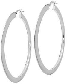 """Italian Gold 2-1/8"""" Flat Hoop Earrings 14K"""