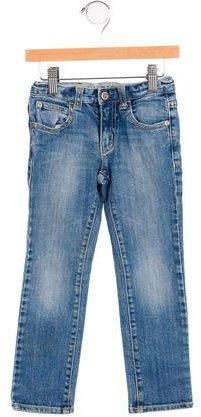 Armani JuniorArmani Junior Girls' Faded Wash Straight-Leg Jeans