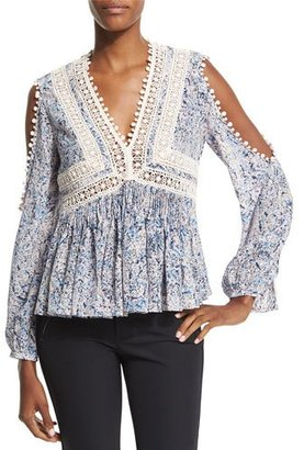 Rebecca Taylor Long-Sleeve Paisley Cold-Shoulder Top, Blue/Pink $450 thestylecure.com