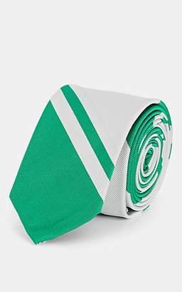 Thom Browne Men's Striped Silk-Cotton Necktie - Green