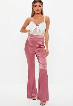 Missguided Rose Satin Pleated Flare Pants