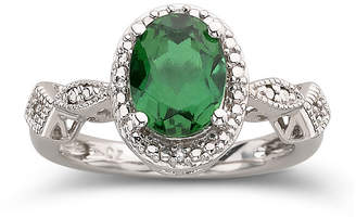 JCPenney FINE JEWELRY Lab-Created Emerald Ring In Sterling Silver