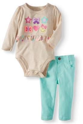 Garanimals Peplum Bodysuit & Skinny Jeans, 2pc Outfit Set (Baby Girls)