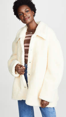 Awake Faux Shearling Rounded Snap Button Jacket