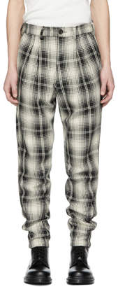 Billy Black and Off-White Plaid Double Pleated Trousers