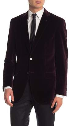 Hart Schaffner Marx Wine Velvet Two Button Notch Lapel Classic Fit Blazer