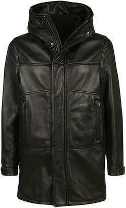 Orciani Zipped-up Leather Hooded Jacket