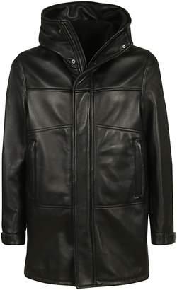 Orciani Zipped-up Leather Hooded Jacket