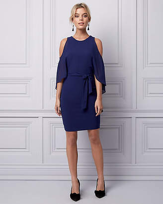 Le Château Knit & Chiffon Boat Neck Cape Dress