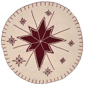 Ashton & Willow Creme White Seasonal Decor North Star Felt Appliqued Star Round Tablemat Set of 6