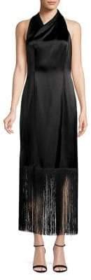 Jill Stuart Halter Wrap Fringe Gown