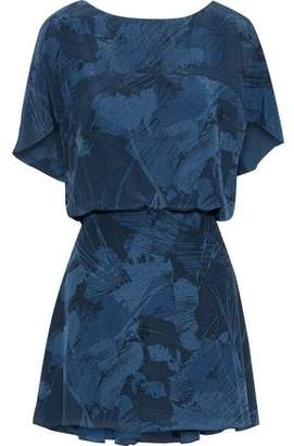 Halston Gathered Printed Silk-Chiffon Mini Dress
