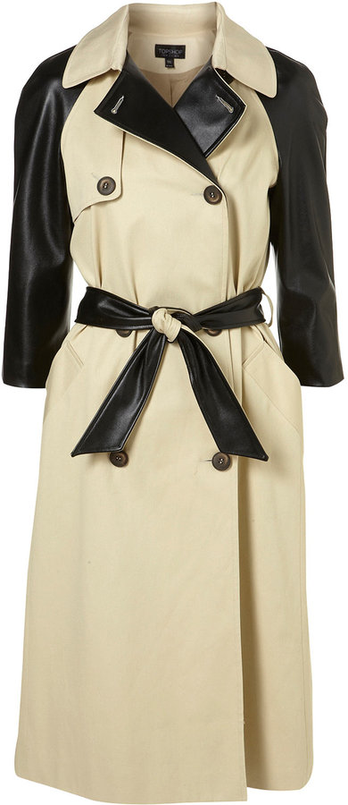 Stone PU Sleeve Belted Trench
