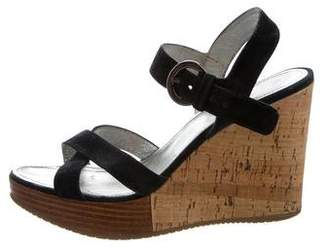 Hogan Suede Wedge Sandals