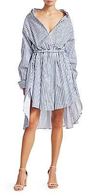 By Any Other Name Women's Velvet Stripe High-Low Shirtdress