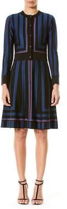 Carolina Herrera Geometric Metallic-Stripe Cropped Cardigan, Blue/Black
