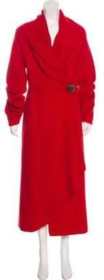 Akris Punto Collarless Long Coat Red Collarless Long Coat