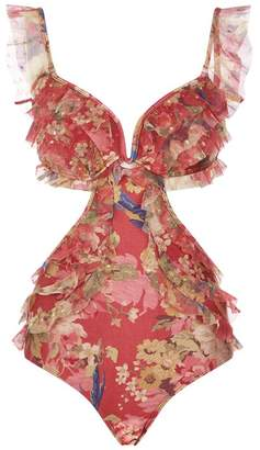 Zimmermann Melody Floral Ruffle Swimsuit