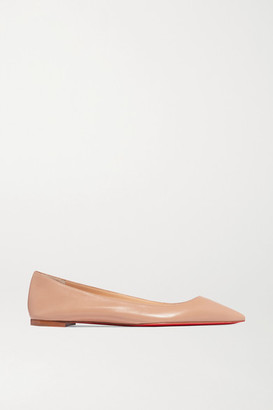 Christian Louboutin Ballalla Leather Point-toe Flats - Neutral