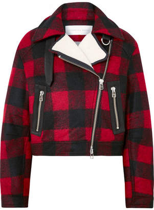 Veronica Beard Benni Leather And Faux Shearling-trimmed Checked Felt Jacket