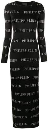 Philipp Plein logo print maxi dress