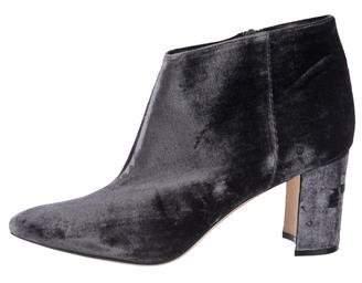 Manolo Blahnik Velvet Pointed-Toe Ankle Boots
