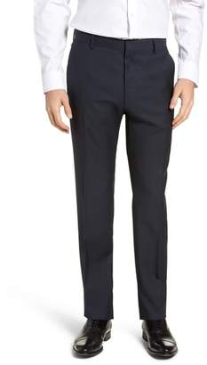 BOSS Barnes Flat Front Solid Wool Trousers