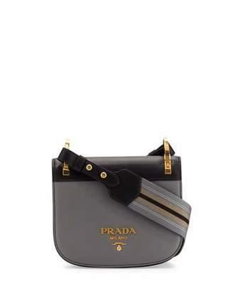 Prada Pionnière Web-Strap Shoulder Bag, Gray/Black (Marmo/Nero) $1,770 thestylecure.com