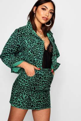 boohoo Raw Hem Leopard Denim Trucker Jacket