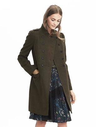 Melton Wool Long Military Jacket $298 thestylecure.com