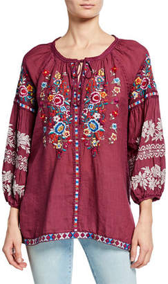 Johnny Was Allegra Embroidered Peasant Blouse