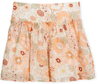 Chloé Pleated Floral Skirt, Size 4-5