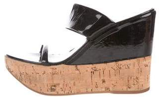 Prada Patent Leather Platform Wedge Sandals