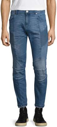 Pierre Balmain Men's Whiskering and Fading Skinny Jeans