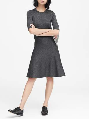 Banana Republic Metallic Fit-and-Flare Sweater Dress