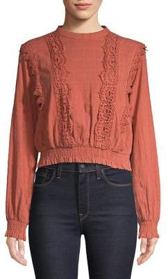 Miss Selfridge Crochet Trim Top