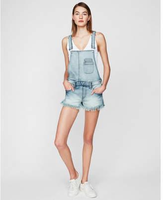 Express original distressed denim overall shorts