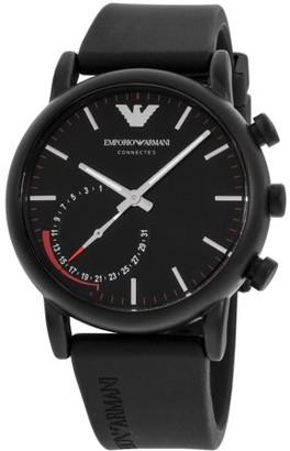 Giorgio Armani Luigi Black Dial Silicone Strap Men's Watch ART3010