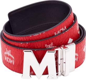 "MCM M Reversible Belt 1.75"" In White Logo Visetos"