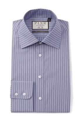Thomas Pink Slim Fit Ackerman Texture Dress Shirt