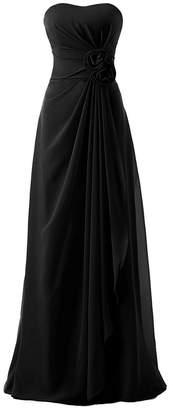 Anlin Women's Long Strapless Empire Draped Chiffon Bridesmaid Evening Dress US