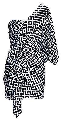 Alexandre Vauthier Women's One-Shoulder Puff Sleeve Polka Dot Mini Dress