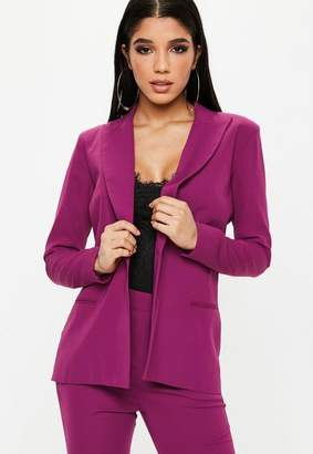Missguided Purple Single Button Front Longline Blazer