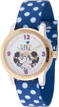 Disney Mickey Mouse Womens Blue Strap Watch-Wds000344