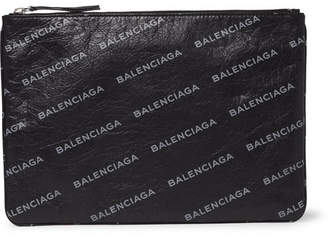 Balenciaga Supermarket Printed Creased-Leather Pouch