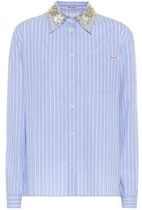 Miu Miu Embellished striped cotton shirt