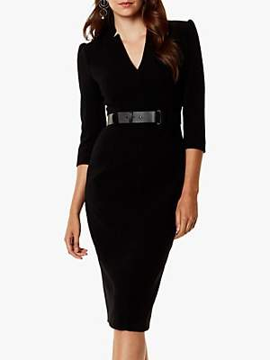 Karen Millen Statement Shoulder Belted Midi Dress, Black