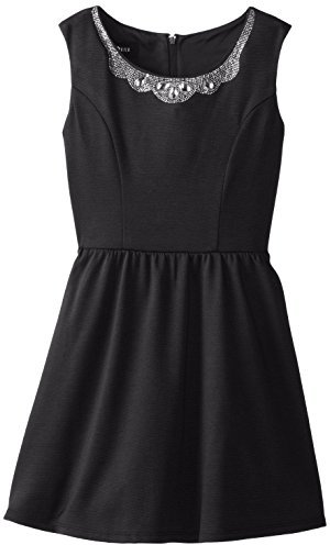 Amy Byer Big Girls' Fit and Flare Dress with Jeweled Peter Pan Collar
