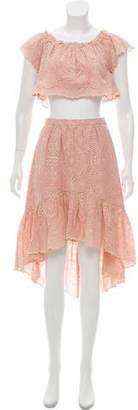 LoveShackFancy Cropped Eyelet Skirt Set